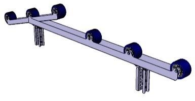 Rollenauflage 2.350 x 95 x 150 mm für Rahmen 40 x 40 mm