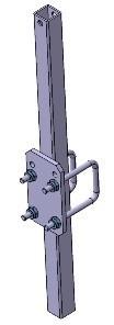 Klemmstütze einf. 40 x 40 mm, Länge 600 mm inkl. U-Bügel + Befestigungsplatte für Rahmen 60 x 40 mm