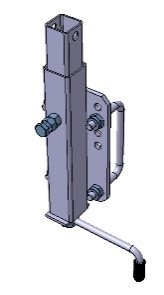 Kurbelstütze 34 x 34 mm, Länge 400 mm inkl. U-Bügel + Befestigungsplatte für Rahmen 100 x 40 mm