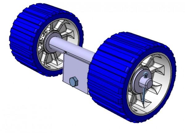 Doppelrolle mit 1 Anschluss für Stütze 34 x 34 mm