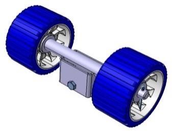 Doppelrolle mit 1 Anschluss für Stütze 40 x 40 mm