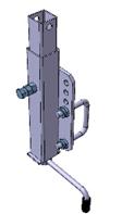 Kurbelstütze 34 x 34 mm, Länge 400 mm inkl. U-Bügel + Befestigungsplatte für Rahmen 60 x 40 mm-